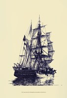 Antique Ship in Blue I Fine Art Print