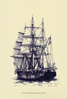 Antique Ship in Blue II Fine Art Print
