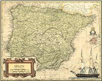 Spain Map Fine Art Print