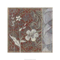 Taupe and Cinnabar Tapestry I Framed Print