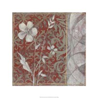 "Taupe and Cinnabar Tapestry II by Jennifer Goldberger - 24"" x 24"""