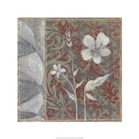 Taupe and Cinnabar Tapestry IV Framed Print