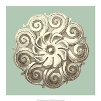 "Celadon and Mocha Rosette I by Vision Studio - 17"" x 17"""