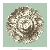 "Celadon and Mocha Rosette III by Vision Studio - 17"" x 17"""