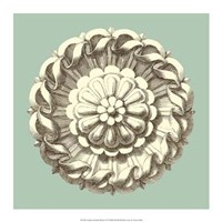 "Celadon and Mocha Rosette IV by Vision Studio - 17"" x 17"""