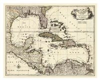 "Map of the Gulf of Mexico by John James Audubon - 32"" x 26"""