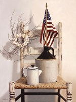 "Chair With Jug and Flag by Cecile Baird - 12"" x 16"""