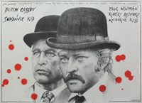 Butch Cassidy and the Sundance Kid B&W Blood Splatter Fine Art Print