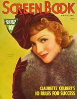 "Claudette Colbert Screen Book Cover - 11"" x 17"""