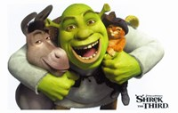 Shrek the Third - Hugging Donkey & Puss in Boots Framed Print