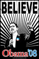 "Barack Obama - (Believe Red and Blue) Campaign Poster - 11"" x 17"""