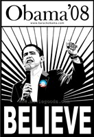 "Barack Obama - (Believe) Campaign Poster - 11"" x 17"""