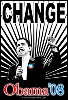 "Barack Obama - (Change Red and Blue) Campaign Poster - 11"" x 17"""