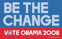 "Barack Obama - (Be The Change) Campaign Poster - 17"" x 11"""