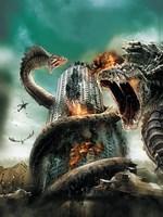 """D-War Worm Dragon AttackingBuilding - 11"""" x 17"""""""