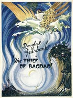 """The Thief of Bagdad Flying on Pegasus - 11"""" x 17"""", FulcrumGallery.com brand"""