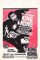 King Kong Black and White Red Background Fine Art Print