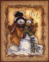 Snow Folk Love Framed Print
