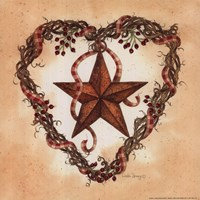 Barn Star with Heart Wreath Fine Art Print