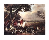 "Hunt in the Park in Fountainbleau by Carle Vernet - 28"" x 23"""