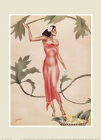 Lady with Red Dress Framed Print