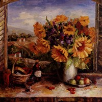 Sunflowers With Fruit And Wine II Fine Art Print