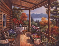 Log Cabin Covered Porch Fine Art Print