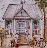 Green Beach House Fine Art Print