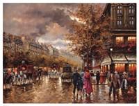 Vintage Street Scene Fine Art Print