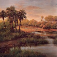 Palms On The River Fine Art Print