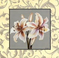 Lillies With Scroll Framed Print