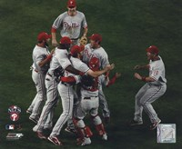The Philadelphia Phillies celebrate winning Game Five of the 2008 NLCS Framed Print