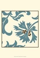 Teal Floral Motif IV Framed Print
