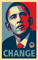 "RARE Obama Campaign Poster - CHANGE by Shepard Fairey - 11"" x 17"""