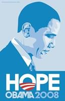 "Barack Obama - (Profile, Blue) Campaign Poster - 11"" x 17"""