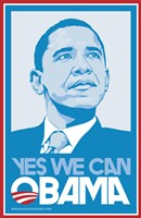"""Barack Obama, (Blue, Yes We Can) Campaign Poster - 11"""" x 17"""""""