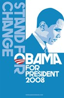 "Barack Obama, (Stand for Change, Blue) Campaign Poster - 11"" x 17"""