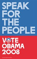 """Barack Obama - (Speak for People-blue) Campaign Poster - 11"""" x 17"""""""
