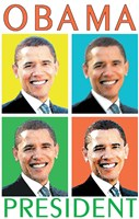 Barack Obama - (4 Faces) Campaign Poster Wall Poster