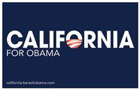 "Barack Obama - (California for Obama) Campaign Poster - 17"" x 11"""