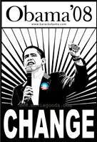 "Barack Obama - (Change, Black and White) Campaign Poster - 11"" x 17"""