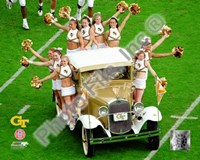 "Georgia Tech University Yellow Jacket Cheerleaders ride the Rambling Wreck 2004 - 10"" x 8"", FulcrumGallery.com brand"