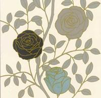 Rose Garden I Gold Fine Art Print