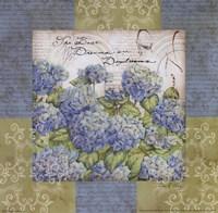 Flowers on Blue I Fine Art Print