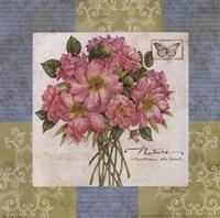 Flowers on Blue II Fine Art Print