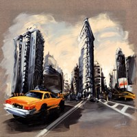 "New York - Flatiron Building by Sandrine Blondel - 28"" x 28"""