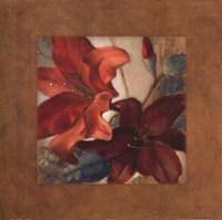 """Crimson Fleurish I (brown boarder) by Lanie Loreth - 24"""" x 24"""""""