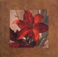 """Crimson Fleurish II (brown boarder) by Lanie Loreth - 24"""" x 24"""""""
