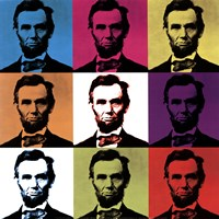 Abraham Lincoln - colored tiles Fine Art Print