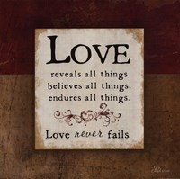 "Love Never Fails by Jennifer Pugh - 12"" x 12"", FulcrumGallery.com brand"